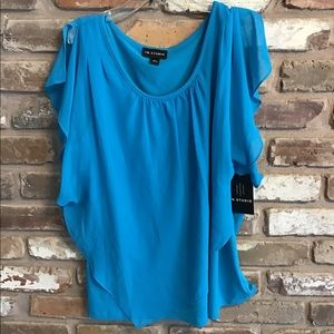 I.N. STUDIO Women's Top Blouse Turquoise NEW